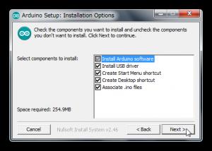Arduino IDE インストールオプション