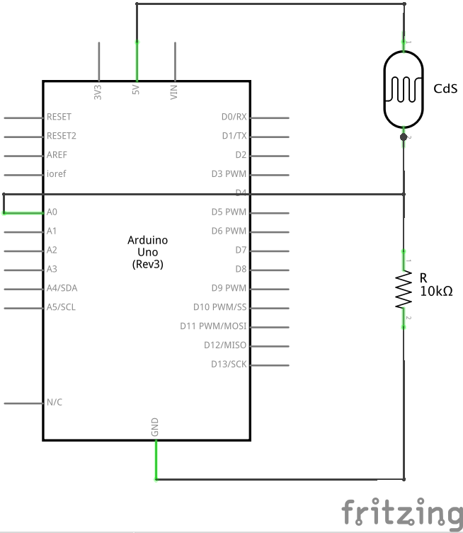 ArduinoにCdSを接続した回路図