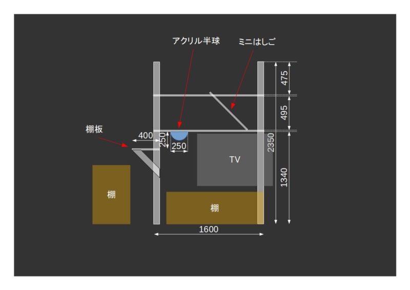 キャットタワーのラフ設計図